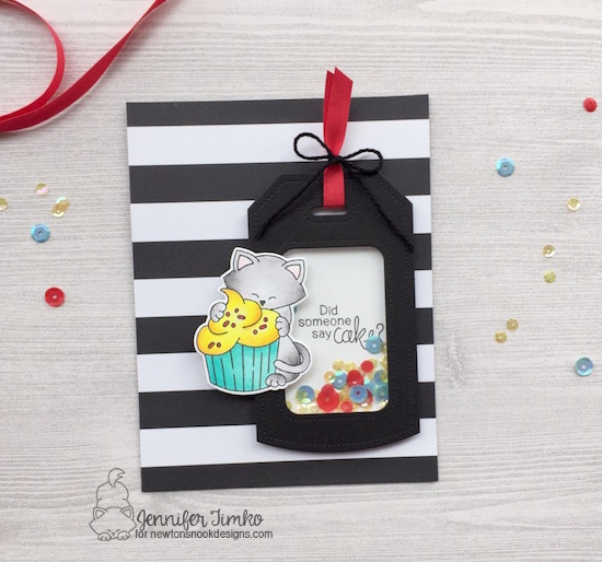 Did Someone Say Cake Card by Jen Timko | Newton Loves Cake Stamp and Dies by Newton's Nook Designs, Sequins from Studio Katia, Dotted Shaker Tag Die by Studio Katia