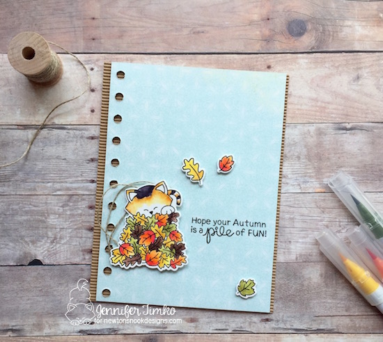Pile of Fun by Jen Timko | Autumn Newton by Newton's Nook Designs, Zig Clean Color Markers, Fall Cat Card, Calico Cat