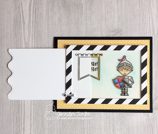 Hear Ye Hear Ye by Jen Timko | Knight's Quest Stamp by Newton's Nook Designs, Magic Slider Card, Zig Clean Color Markers