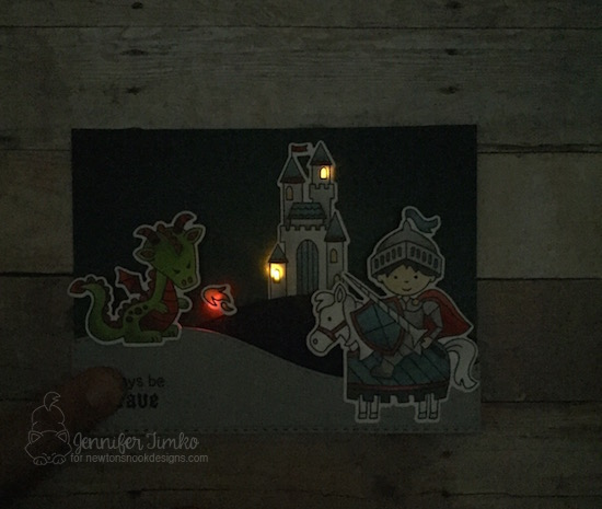 Always Be Brave Lit Up by Jen Timko | Knight's Quest Stamp and Dies by Newton's Nook Designs, Chibitronics, Chibi Lights