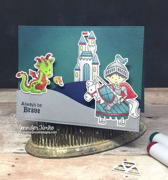 Always Be Brave by Jen Timko | Knight's Quest Stamp and Dies by Newton's Nook Designs, Chibitronics, Light Up Card, Chibi Lights