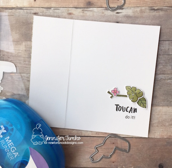 Toucan Do It by Jen Timko (open) | Toucan Party Stamps and Dies by Newton's Nook Designs, Window Card, Xyron Permanent Mega Runner, Copic Coloring, Tutorial