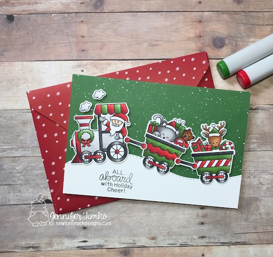 Holiday Cheer by Jen Timko | All Aboard for Christmas Stamp Set and Dies by Newton's Nook Designs, Be Merry DSP by Stampin' Up, Copic Coloring