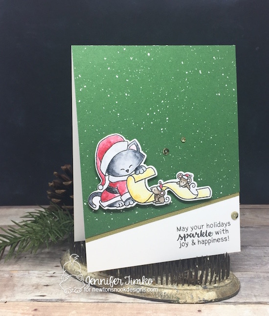 Santa's List by Jen Timko | Santa Paws Newtons Stamps and Dies by Newtons Nook Designs, Sentiments of the Season Stamp Set by Newton's Nook Designs, Be Merry DSP by Stampin' Up, Wink of Stella, Deck the Halls with Inky Paws Hop