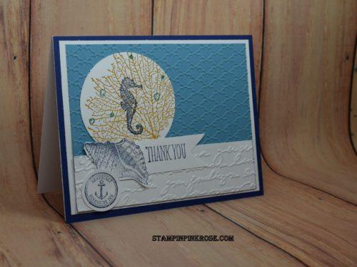 Pamela Sadler Stampin' Up! Thank You card made with By the Tide stamp set designed by demo Pamela Sadle. To see more cards at www.stampinpinkrose.com #stampinpinkrose