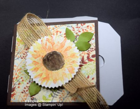 Stampin' Up! Thinking of You mini pizza box and card made with Painted Harvest stamp set and designed by Demo Pamela Sadler. Come to the farm. See more cards at stampinkrose.com and etsycardstrulyheart