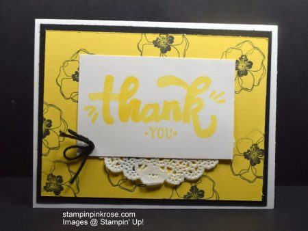 Stampin' Up! Thank You card made with Color Me Happy stamp set and designed by Demo Pamela Sadler. See how easy it is to use your Blends. See more cards at stampinkrose.com and etsycardstrulyheart
