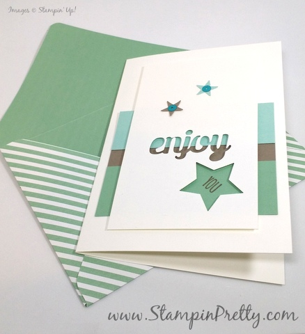 Stampin Up star punch birthday card idea Mary Fish StampinUp demonstrator blog Stampin Pretty envelope paper