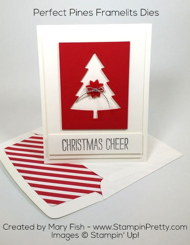 Stampin Up Perfect Pinets Framelits Dies Christmas Card Idea by Mary Fish Pinterest