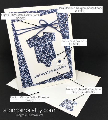 Stampin Up Baby's First Made with Love Baby Card Ideas - Mary Fish StampinUp Supplies List