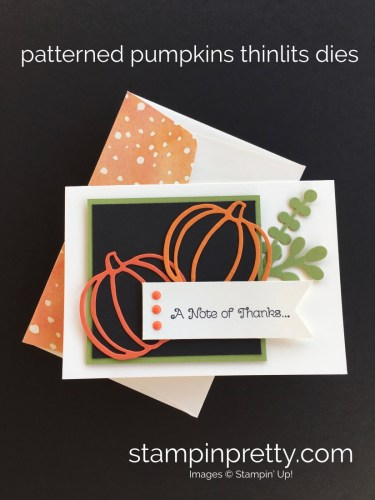 Learn how to create a simple autumn thank you card with Stampin Up Patterned Pumpkins Dies - By Mary Fish StampinUp