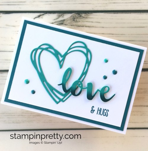 Learn how to create a simple love card valentine using Sunshine Wishes Dies - Mary Fish StampinUp Idea
