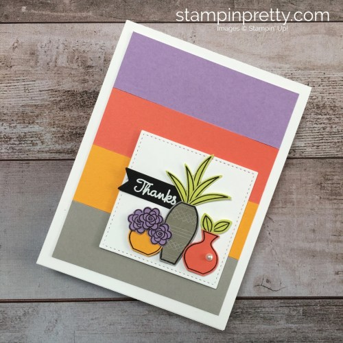 Create a simple thank you card idea with succulents using Stampin Up Varied Vases Stamp Set and Vase Builder Punch - Mary Fish StampinUp