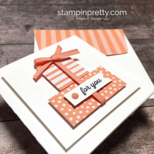 Create a simple 3 x 3 gift card using Stampin Up Itty Bitty Greetings - Mary Fish StampinUp