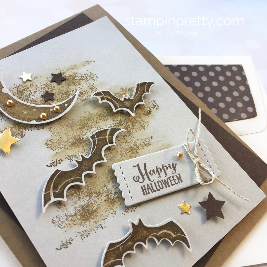 Create A Halloween Card Using Stampin Up Spooky Sweets & Spooky Bats Punch  - Mary Fish