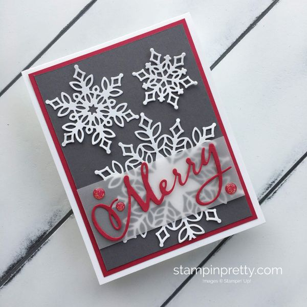 Learn to create a holiday card using the Snowfall Thinlits Dies from Stampin'Up!