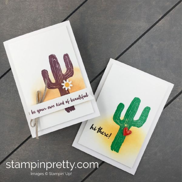 Learn how to create these handmade cactus cards using the Flowering Desert Stamp Set by Stampin' Up! #maryfish #stampinpretty