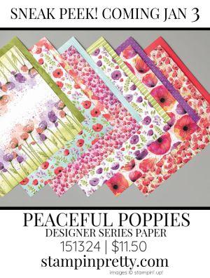Peaceful Poppies Designer Series Paper by Stampin' up! 151324 Sneak Peek