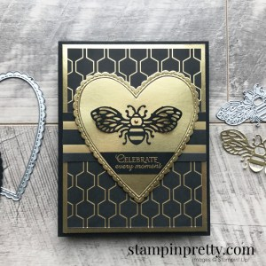 Honey Bee Bundle & Golden Honey Specialty Designer Series Paper from Stampin' Up! Celebrate card by Mary Fish, Stampin' Pretty