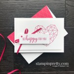 Create this Lovely Lipstick Simple Note Card using the Modern Heart Stamp Set from Stampin