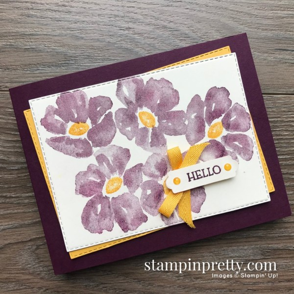 Create this card using the Blossoms in Bloom Stamp Set by Stampin' Up! Hello Card by Mary Fish, Stampin' Pretty