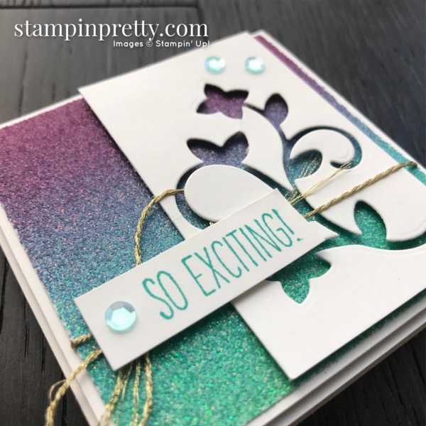 Rainbow Glimmer Paper from Stampin' Up! 3x3 So Exciting Card by Mary Fish, Stampin' Pretty Sketchbook #10 (1)