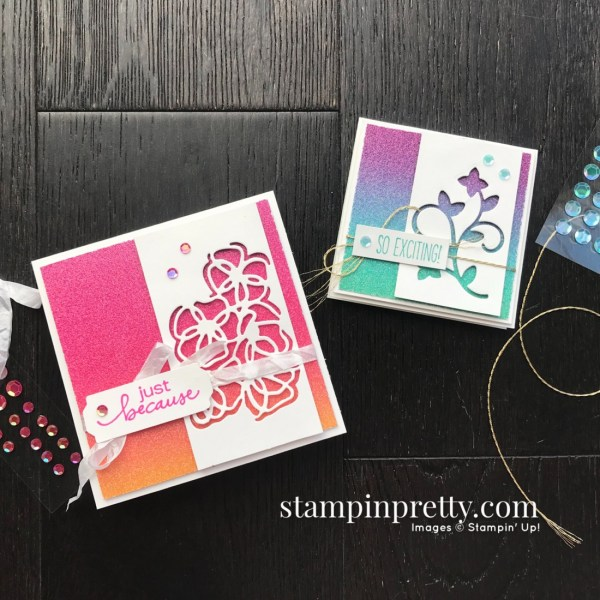 Rainbow Glimmer Paper from Stampin' Up! 3x3 and 4x4 Cards by Mary Fish, Stampin' Pretty Sketchbook #10