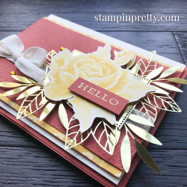 Create this card using the Forever Gold Laser-Cut Specialty Paper from Stampin' Up! Card by Mary Fish, Stampin' Pretty!