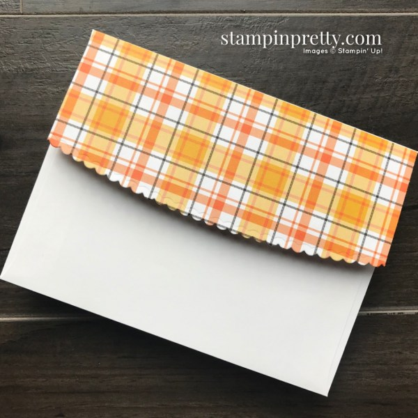 Create this Halloween Themed Envelope using the Plaid TTidings DSP and Envelopes Dies from Stampin' Up! Mary Fish, Stampin' Pretty