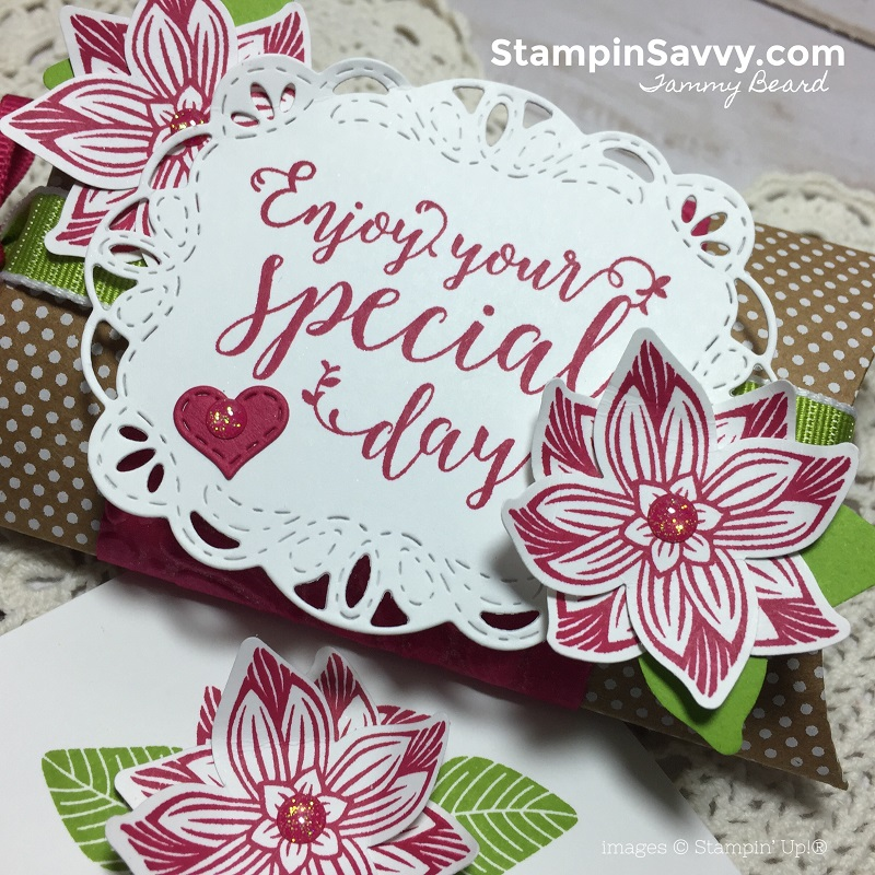 creative ways to present gift cards, pop of petals, stitched all around, kraft pillow box, stampin up, stampinup, stampin savvy, tammy beard 2