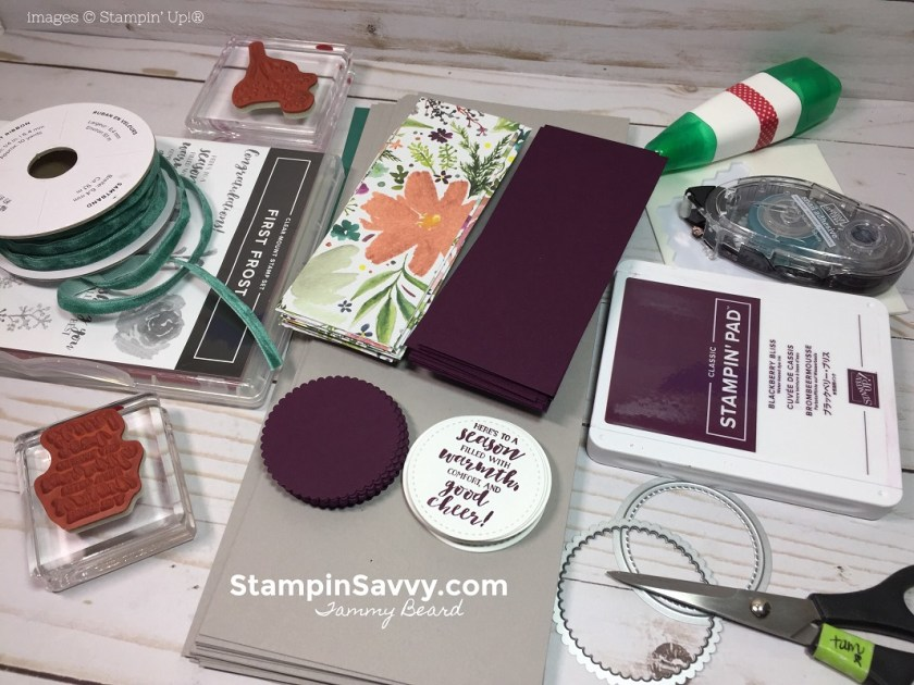 first frost, simple christmas card tutorial, stampin savvy, stampin up, tammy beard 4
