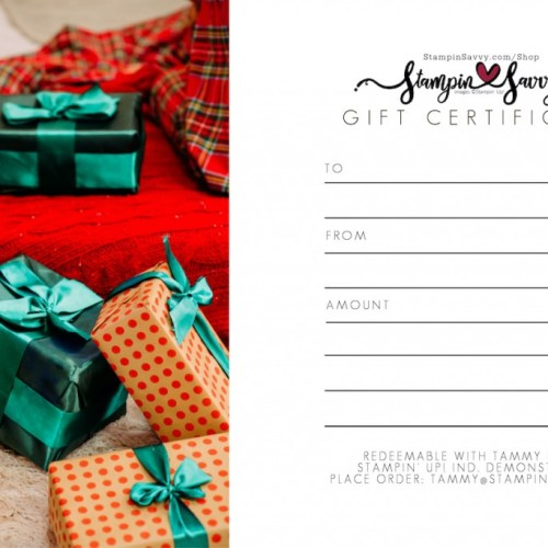 Stampin Savvy Holiday Gift Certificate