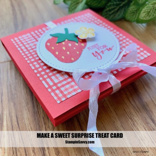 SWEET SURPRISE TREAT CARD BY Tammy Beard FOR STAMPINSAVVY.COM