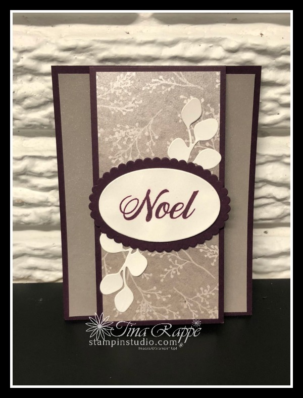 Stampin' Up! Peaceful Noel stamp set, Frosted Floral DSP, Shimmer Paint, Stampin' Studio