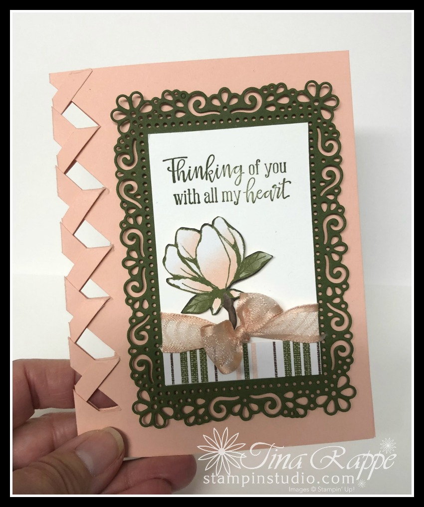 Stampin' Up! Braided card Technique.Magnolia Lane DSP, Peaceful Moments stamp set, Stampin' Studio