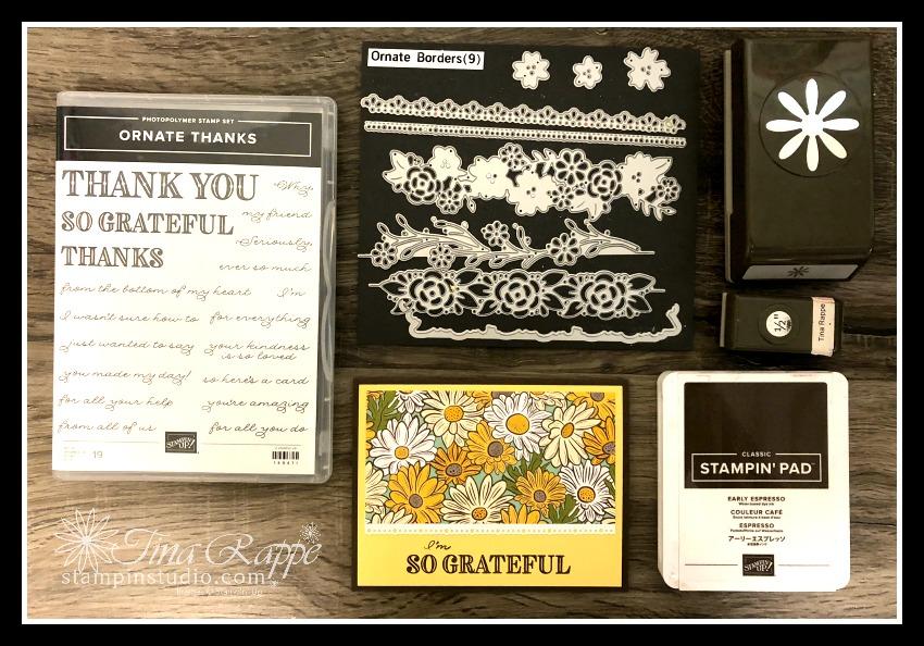 Stampin' Up! Ornate Thanks stamp set, Ornate Border Dies, Stampin' Studio