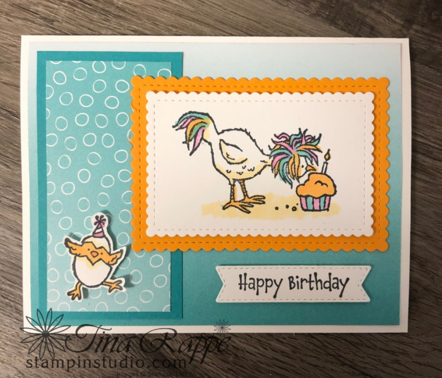 Stampin' Up! Hey Birthday Chick stamp set, Oh So Ombre DSP, Stampin' Studio