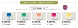 Die fünf Stempelkissen der InColors 2018-2020 mit einem Rabatt von 10 %.