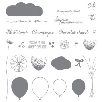 Ensemble de tampons photopolymères Bouquet De Ballons (français)