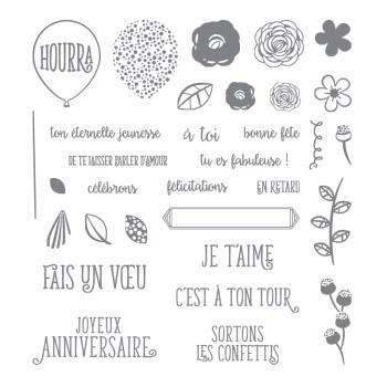 Joyeux anniversaire beauté Set de tampons en photopolymère (français)