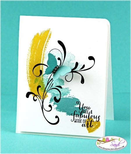 Stampin Up Work of ARt in Blue and Yellow by Sandi @ www.stampinwithsandi.com
