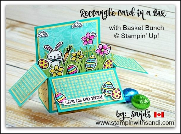 Rectangle Card in a Box with Basket Bunch by Sandi @ stampinwithsandi.com