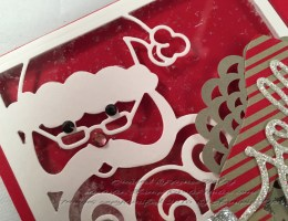Closeup of Jolly Santa card