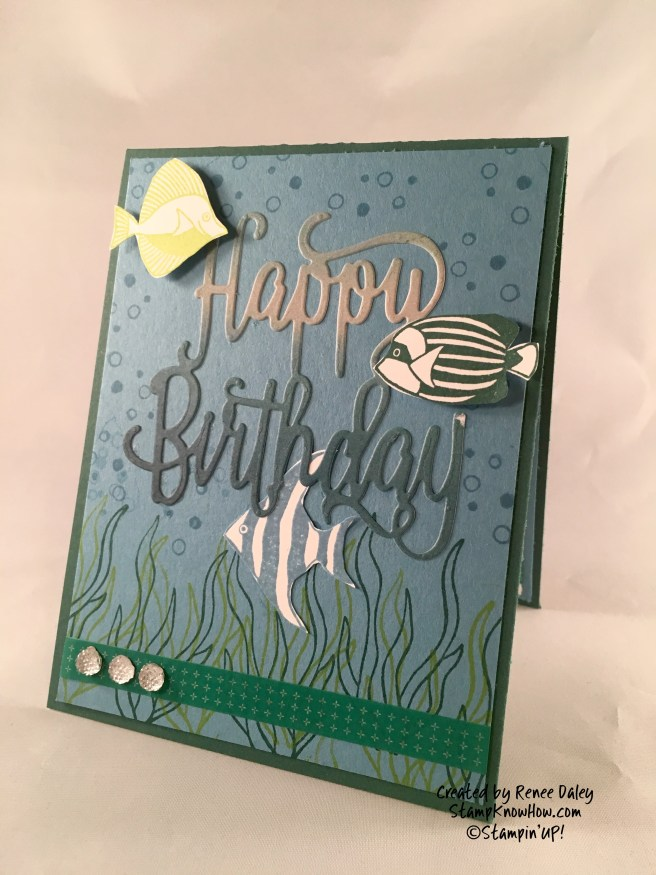 Image of Birthday card featuring fish by Stampin' UP