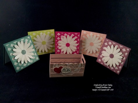 Image of Daisy Card Set with paper wooden crate