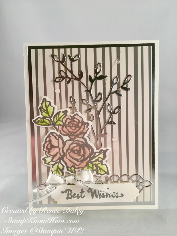 Pink roses image used on handmade wedding card