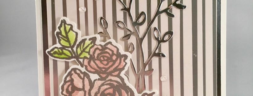 Pink roses image used on handmade wedding card