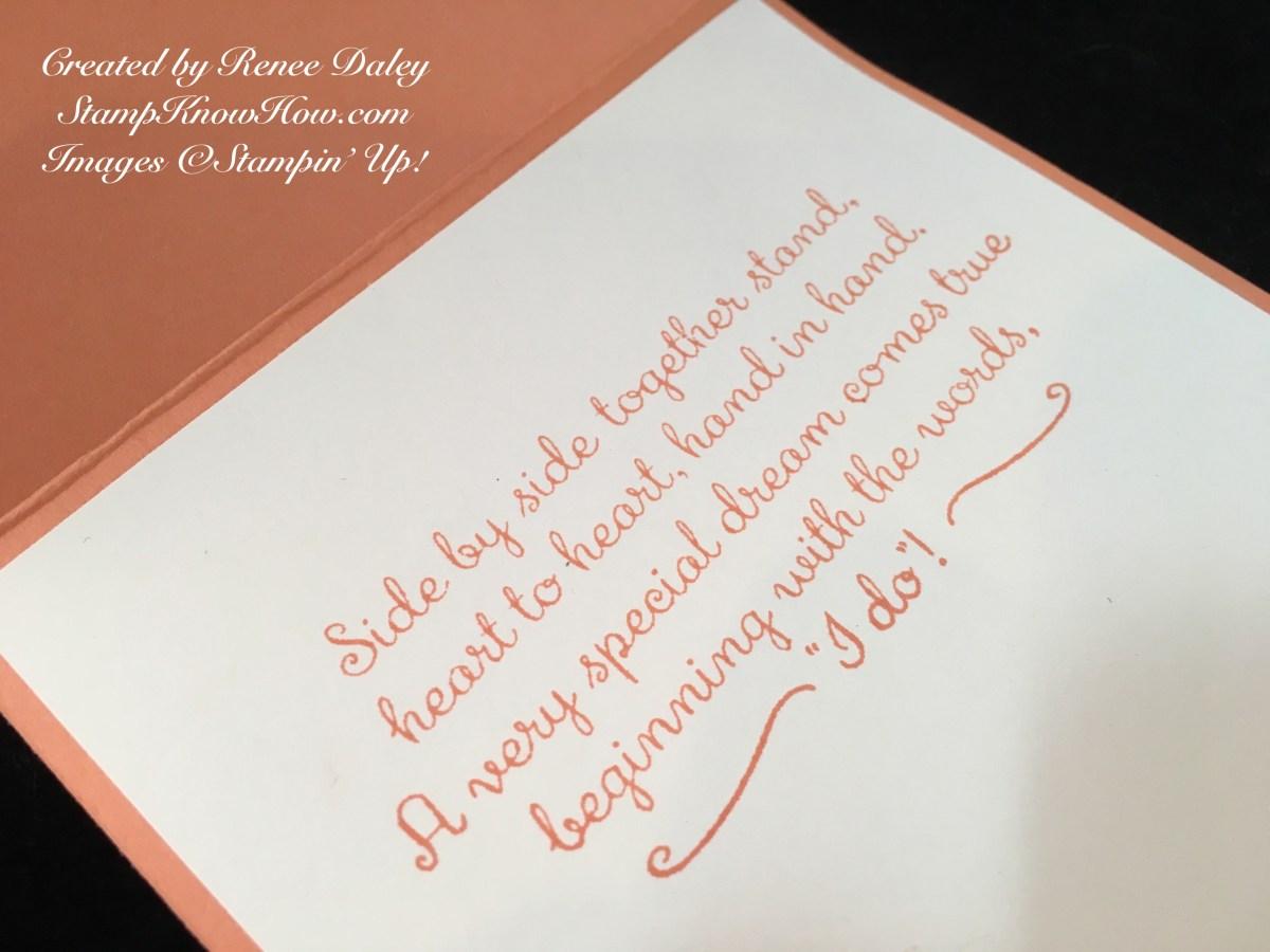 Closeup of inside of the wedding card