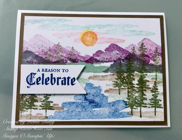 Mountain Range card using the Waterfront Stamp Set by Stampin' Up!
