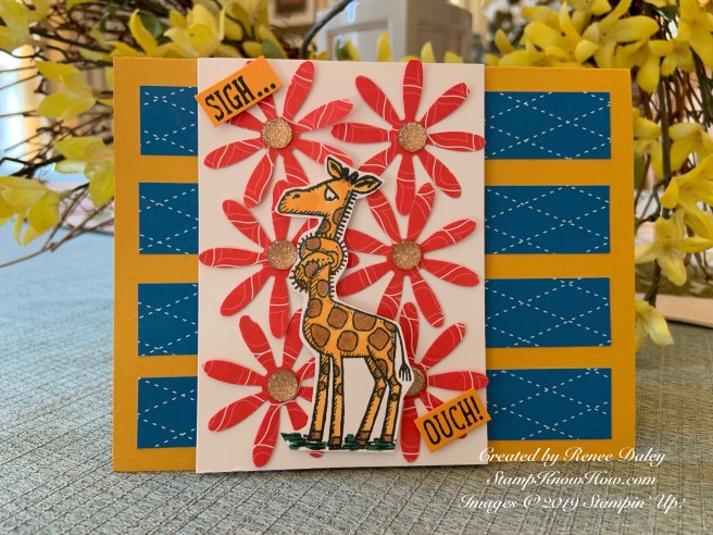 Giraffe Get Well card features the Stampin' Up Back on Your Feet Stamp set from the annual catalog. Purchase these products online at StampKnowHow.com.